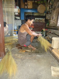 Manong Realce Labasni whose household is a grantee of Pantawid Program and Sustainable Livelihood Program weaving for a brighter future of his family in Lubugan, Kalinga