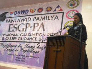 Christina delivering her speech during the ESGP-PA Ceremonial Graduation Activity